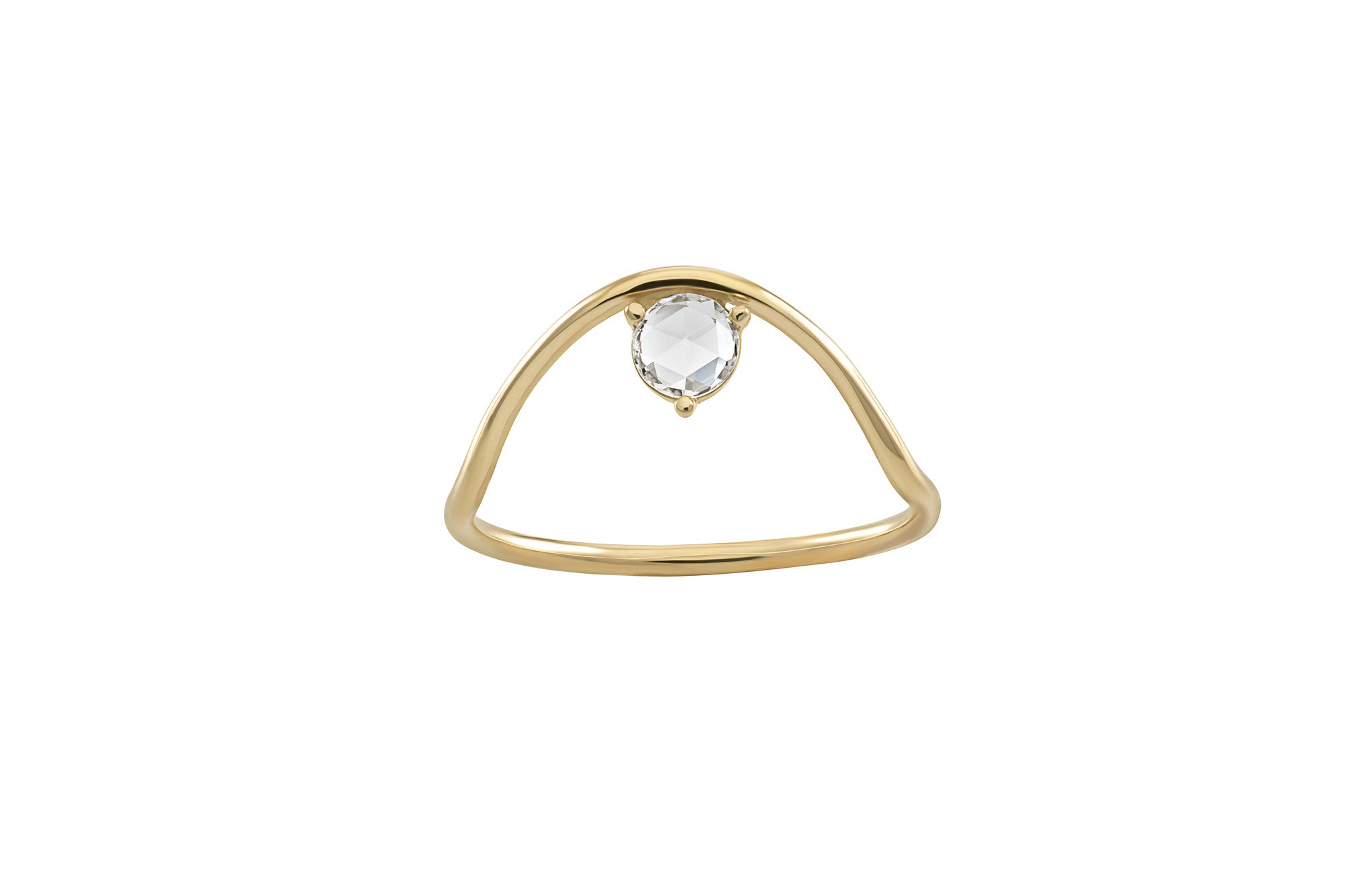 Sloped Arc Rose Cut Diamond Ring