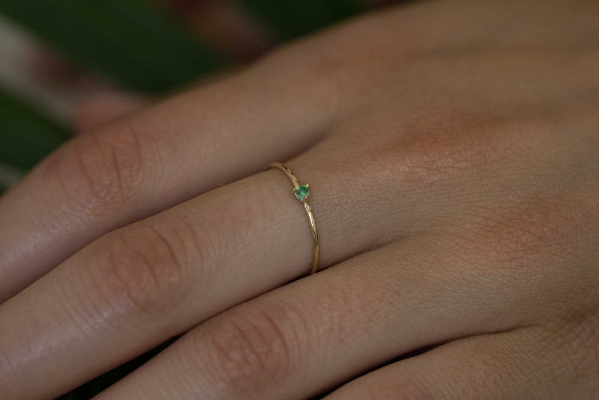 Minutia Emerald Ring