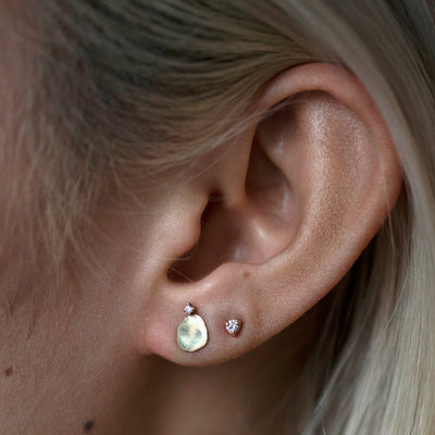 Medium Disc Studs with Diamonds