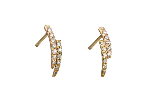 Micropave Curved Point Earrings