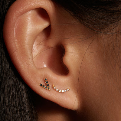Micropave Curved Line Earrings