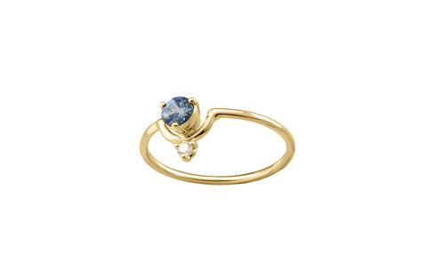 One of a Kind Small Nestled Sapphire and White Diamond Ring