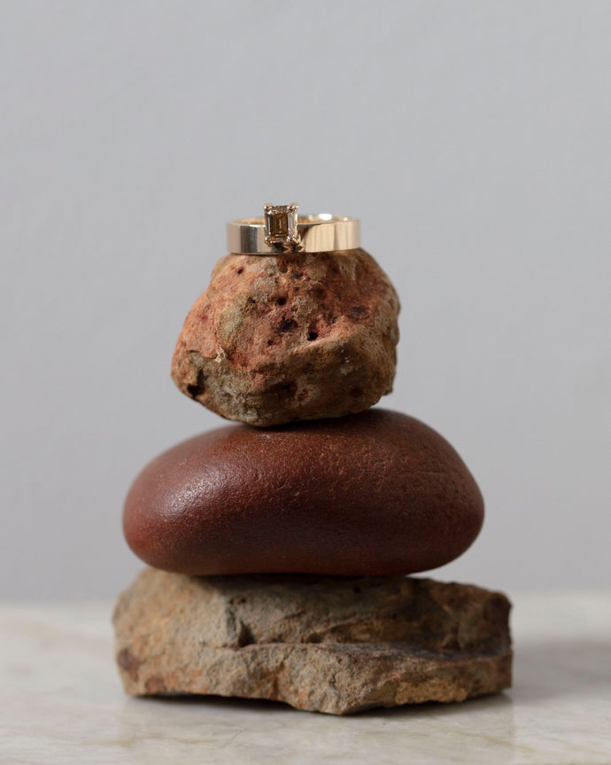 One of a Kind Medium Vertical Champagne Diamond Monolith Ring
