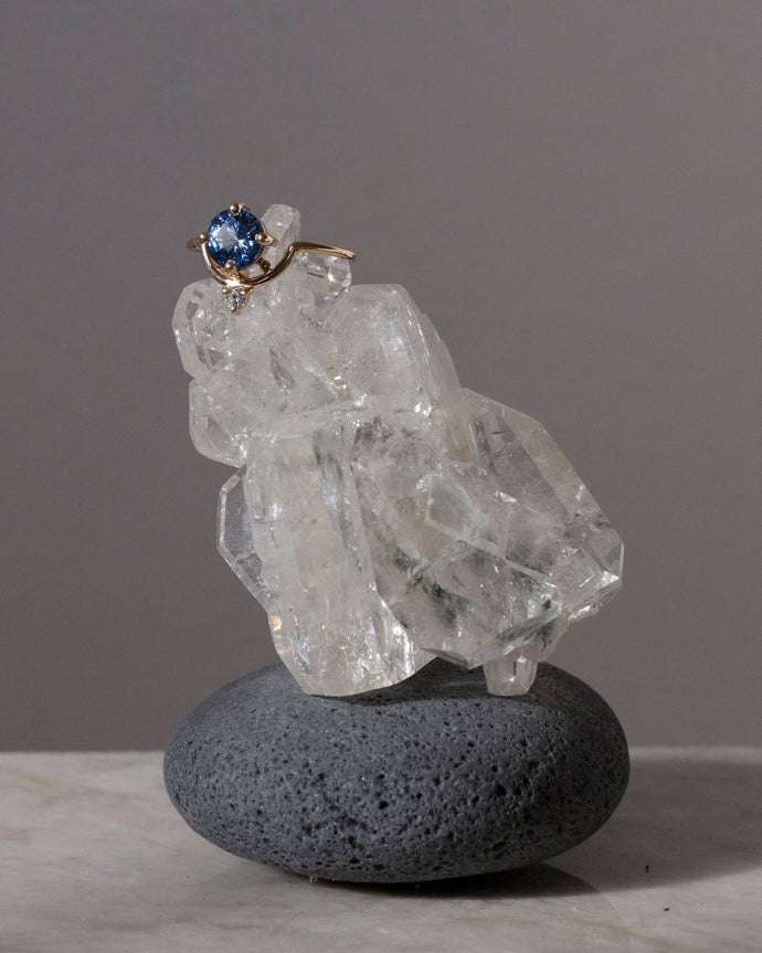 One of a Kind Extra Large Nestled Sapphire and Diamond Ring