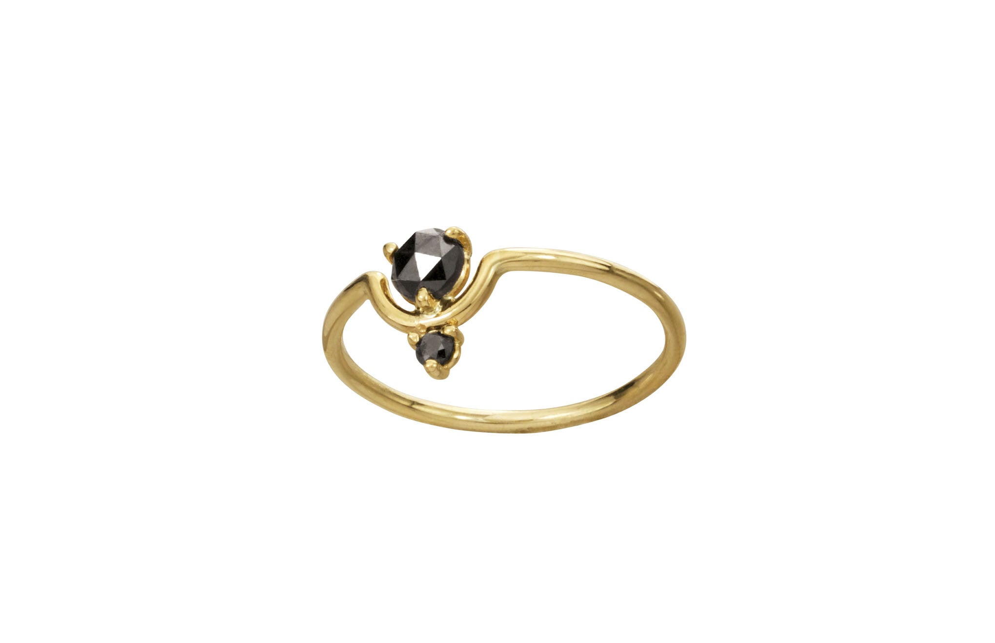 One of a Kind Nestled Black Diamonds Ring