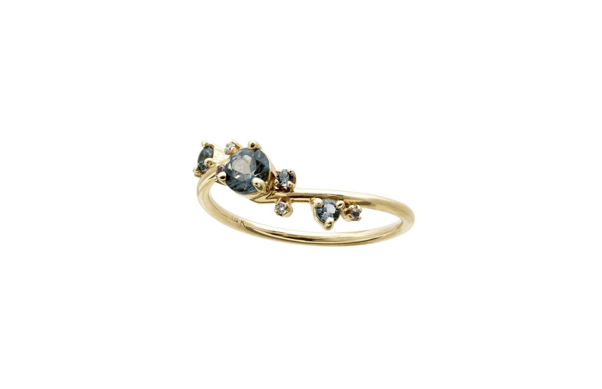 Blue Green Organic Crossover Ring