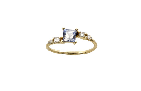 Blue Princess Cut Crossover Ring