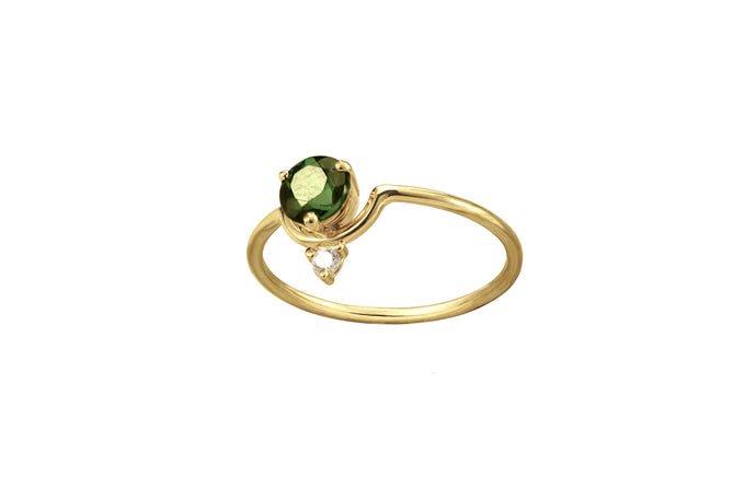 One of a Kind Nestled Tourmaline and Diamond Ring