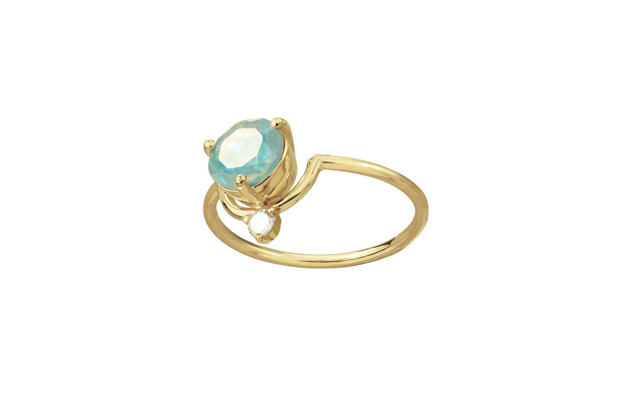 One of a Kind Large Nestled Opal and Diamond Ring