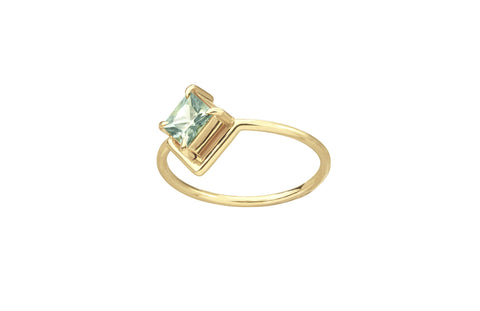 One of a Kind Nestled Princess Cut Light Blue-Green Sapphire Ring