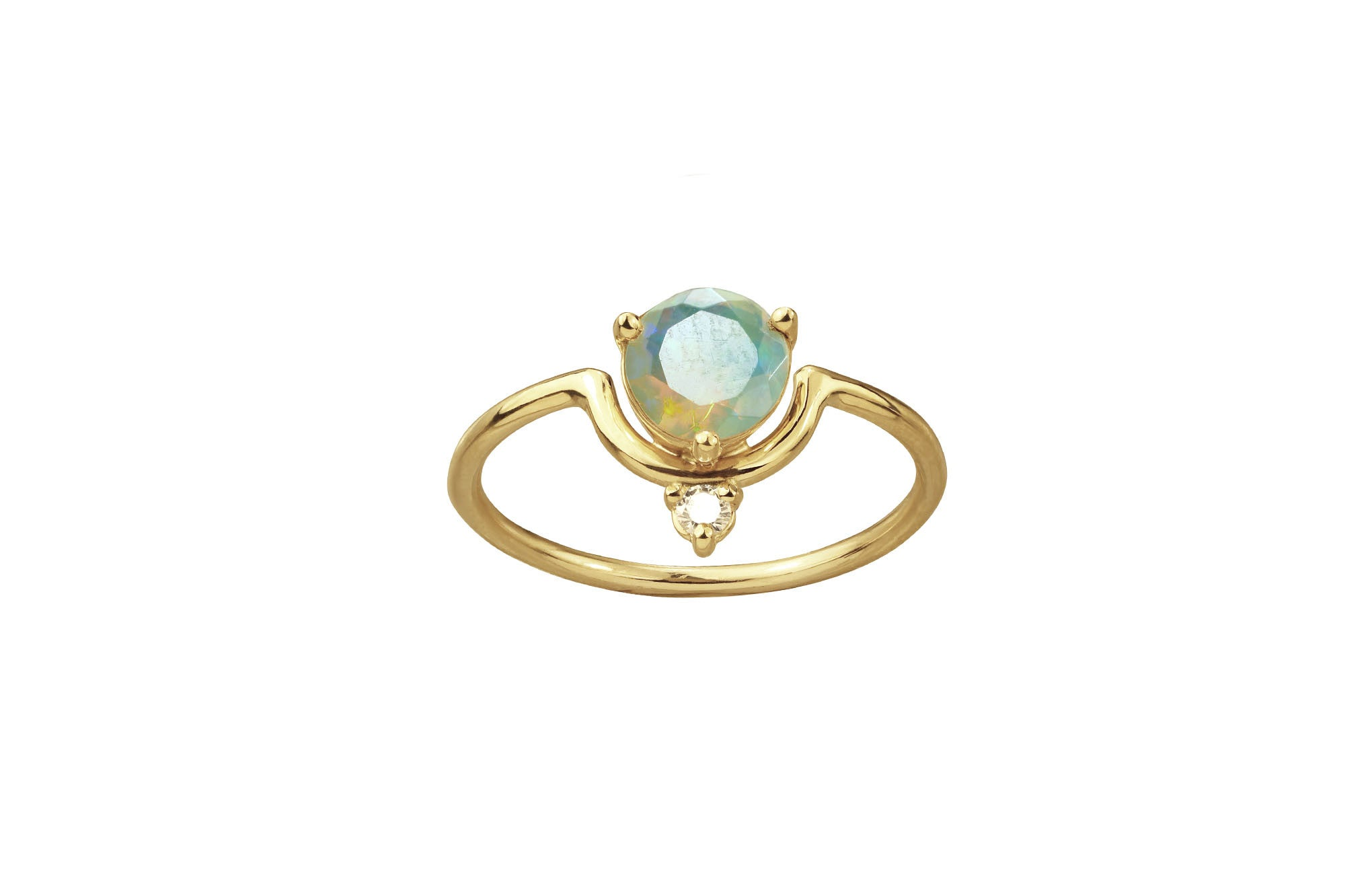 One of a Kind Medium Nestled Opal and Diamond Ring