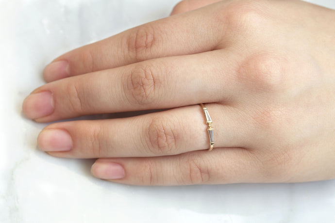 One of a Kind Mirrored Tapered Baguettes Ring