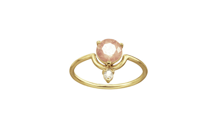 One of a Kind Nestled Sunstone and Champagne Diamond Ring