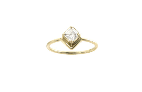 One of a Kind Nestled Asscher Cut Diamond Ring