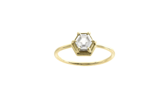One of a Kind Nestled Hexagon Diamond Ring