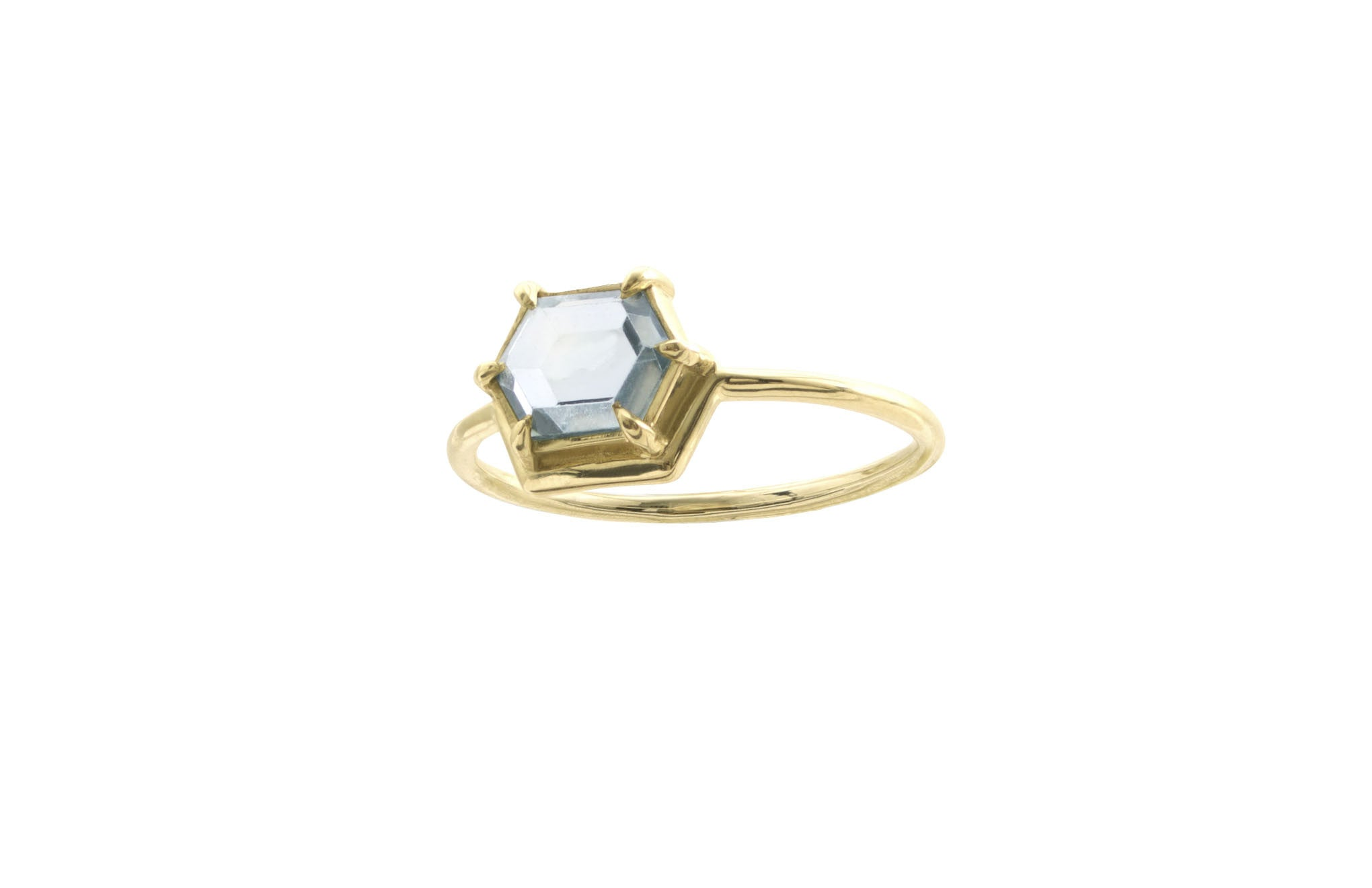 One of a Kind Nestled Hexagon Slice Sapphire Ring