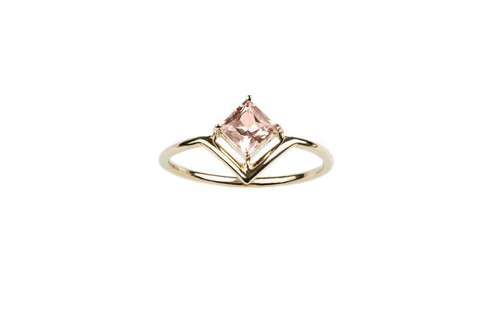 One of a Kind Nestled Princess Cut Pink Sapphire Ring