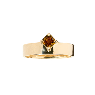 One of a Kind Orange Diamond Monolith Ring