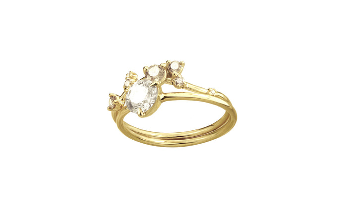 One of a Kind Organic Triangle Champagne Diamond Ring