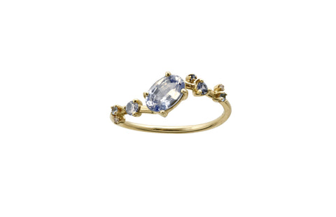 Oval Sapphire Organic Crossover Ring