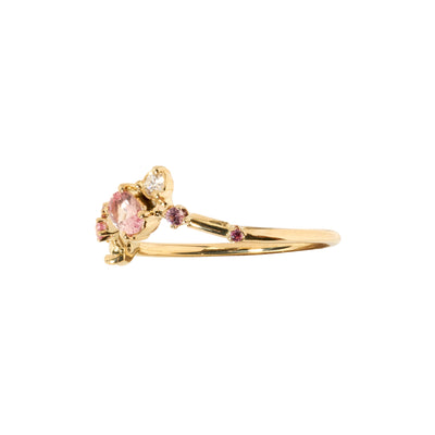 One of a Kind Blush Sapphire and Diamond Organic Triangle Ring