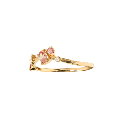 One of a Kind Blush Sapphire Organic Triangle Ring