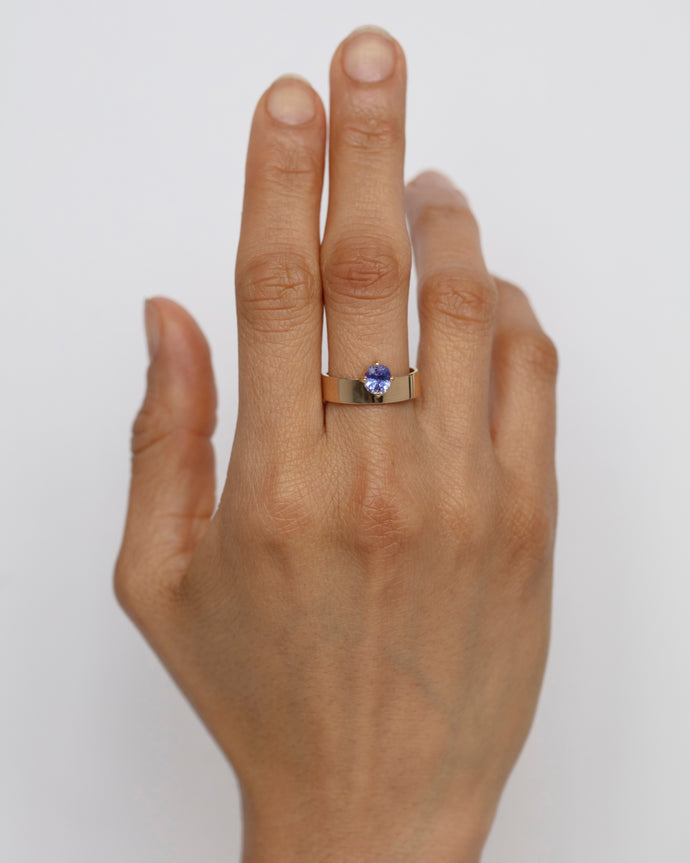 One of a Kind Oval Sapphire Monolith Ring