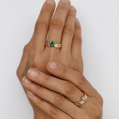 One of a Kind Emerald Monolith Ring