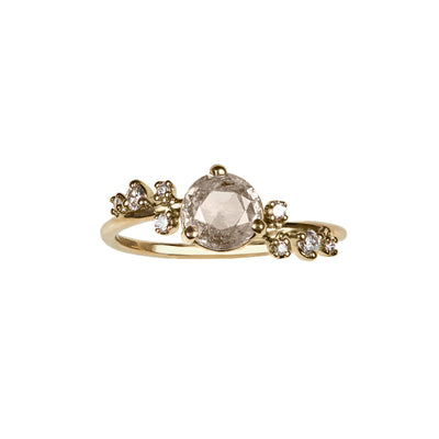 One of a Kind Large Champagne Diamond Organic Crossover Ring