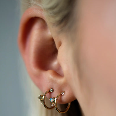 Organic Tourmaline and Diamond Mini Hoops