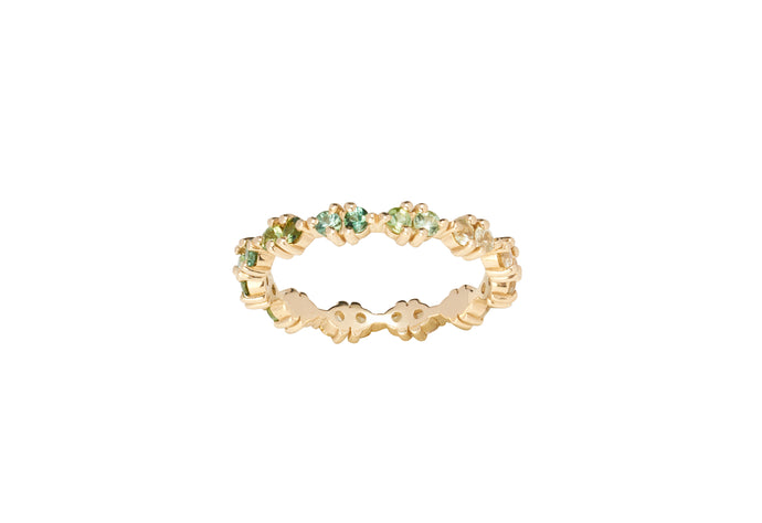 One of a Kind Pathway Eternity Ring - Green Gradient