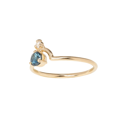 Limited Edition Small Nestled Gradient Sapphire and Diamond Ring