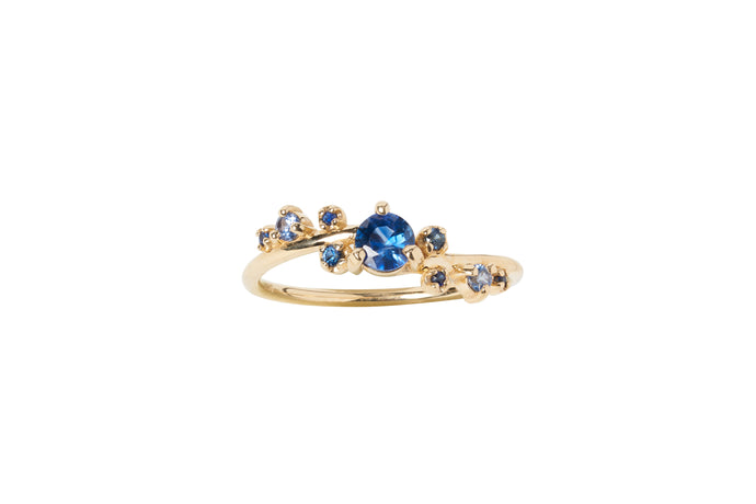 One of a Kind Blue Sapphire Organic Crossover Ring