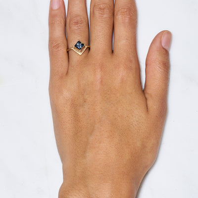 One of a Kind Nestled Teal Princess Cut Sapphire Ring