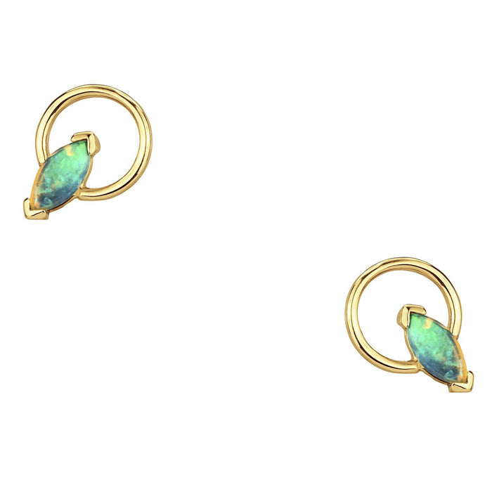 Small Marquise Opal Circle Earrings