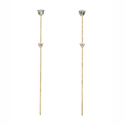 Two-Stone Drop Earrings - Green Tourmaline and Diamond