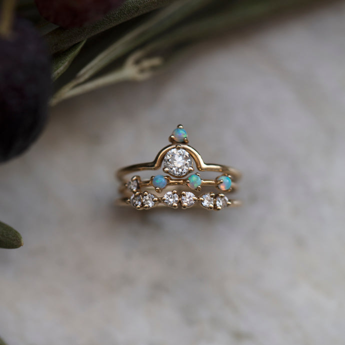 Small Nestled Diamond and Opal Ring