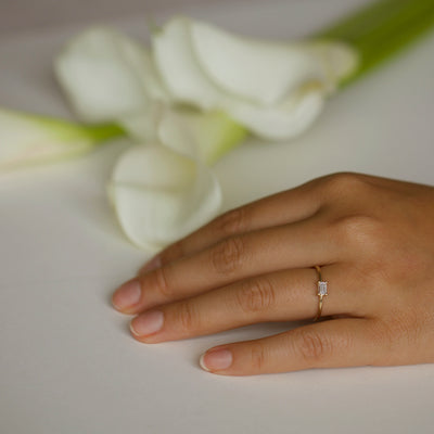 Small Emerald Cut Solitaire Ring