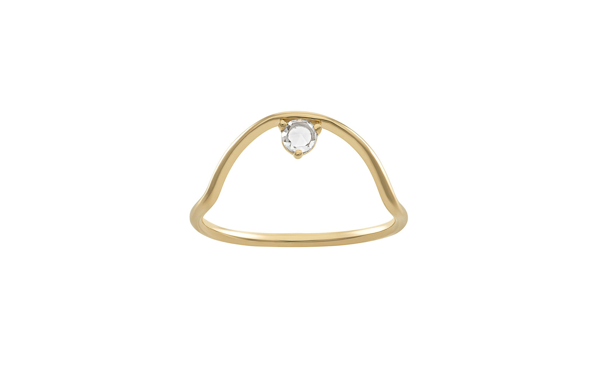 Small Sloped Arc Rose Cut Diamond Ring