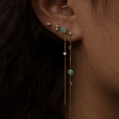 Two-Stone Drop Earrings - Opal and Diamond