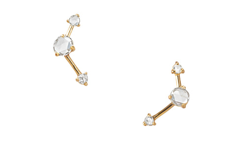Three-Step Point Diamond Earrings