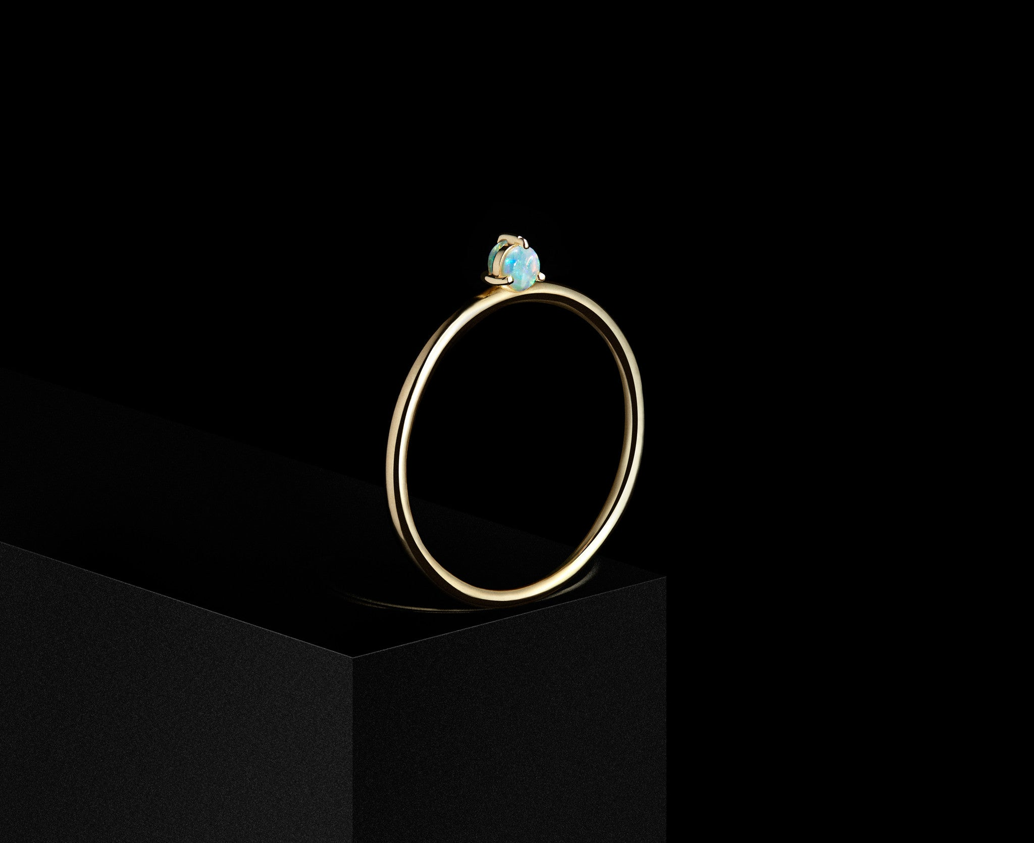 Double-Sided Solitaire Ring with 2mm Opals