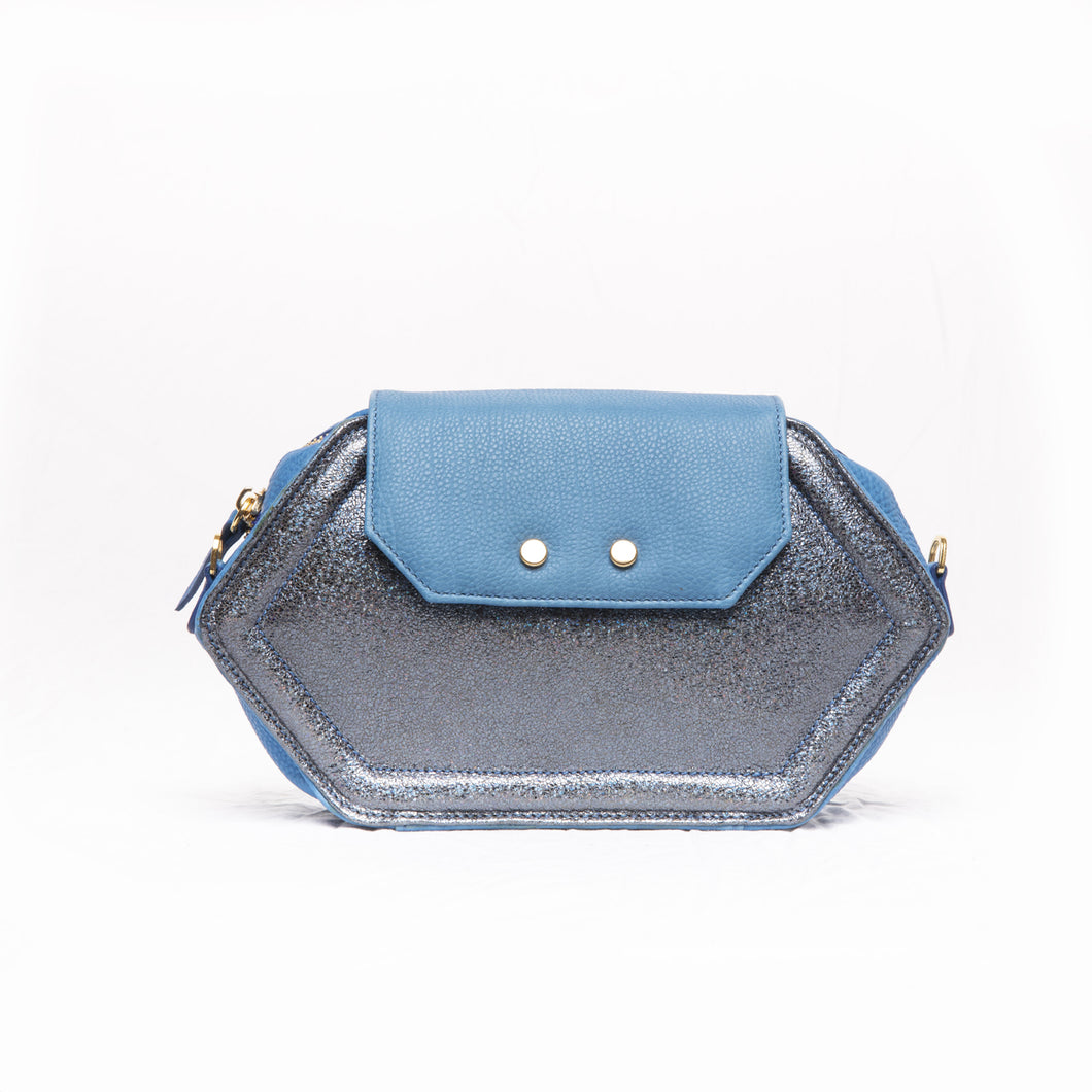 Hexagon Maxi Pouch Electric Blue