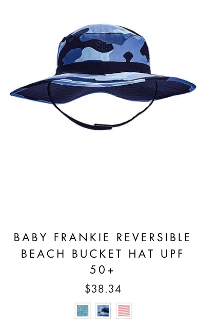 product image of a UVwise baby bucket hat in blue camo with a chin strap