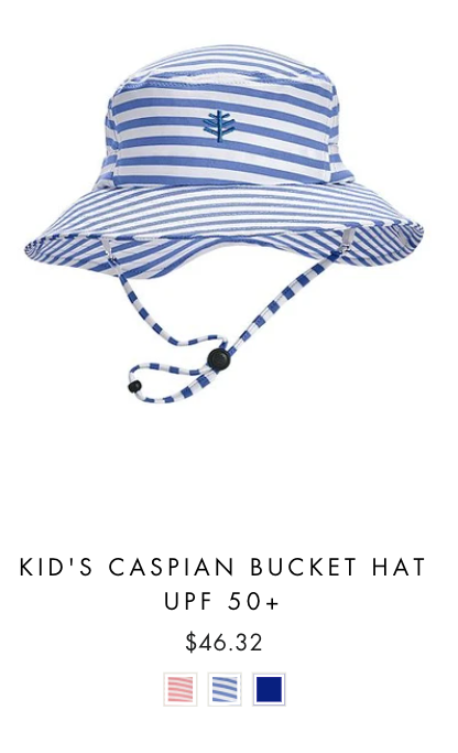 product image of the UVwise kids bucket hat in white and blue stripes