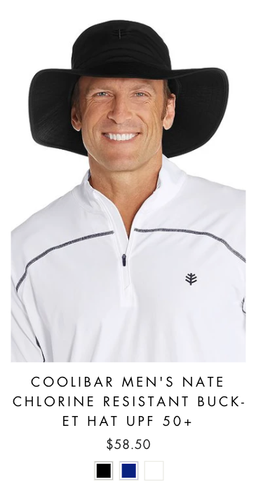 man wearing a white sun protective shirt and a black UVwise mens bucket hat