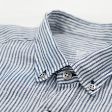 Load image into Gallery viewer, Linen Buckley Shirt White/Blue Stripes