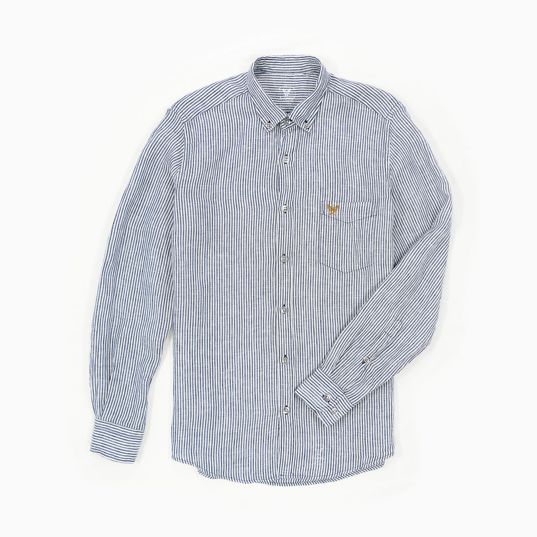 Linen Buckley Shirt White/Blue Stripes