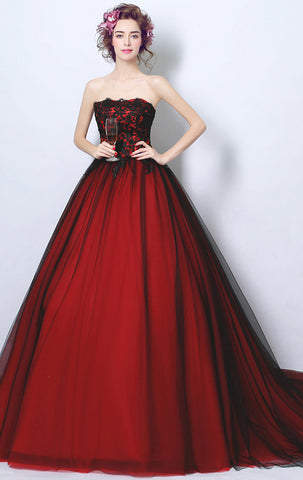red ball gowns