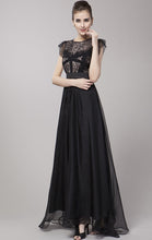 Load image into Gallery viewer, Gorgeous A-line Black Short Sleeve Lace Long Formal Dress LFNC0040